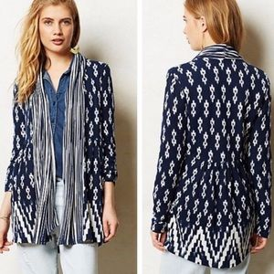 One September•Blue Martingale Open Front Cardigan